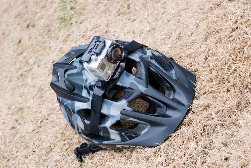 Gopro Hero Camera Mounted To Fox Helmet Bike198