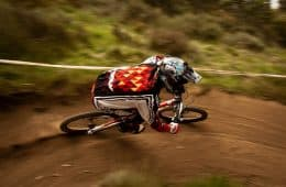 Railing a Berm: Mountain Biking