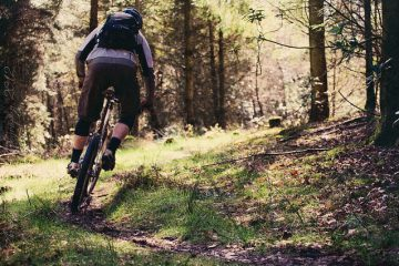 Mountain biking on wet trail